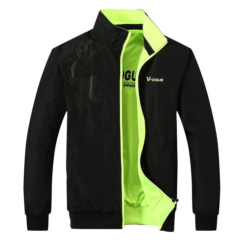 Coat windproof single thin mens jacket two sides wear sportswear autumn youth leisure coat spring and Autumn
