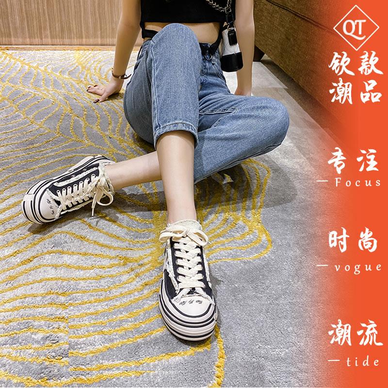 吴建豪同款2021年新款乞丐鞋厚底春半拖板鞋帆布鞋女夏松糕小白鞋