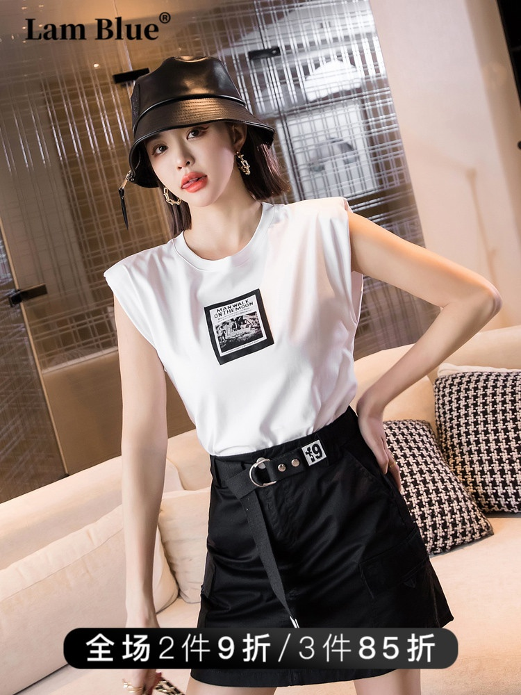 The shoulder pad is sweet and cool, the cotton loose jacket is fashionable, the womens thin waistcoat is short sleeve, the top is printed, and the sleeveless T-shirt is worn in summer