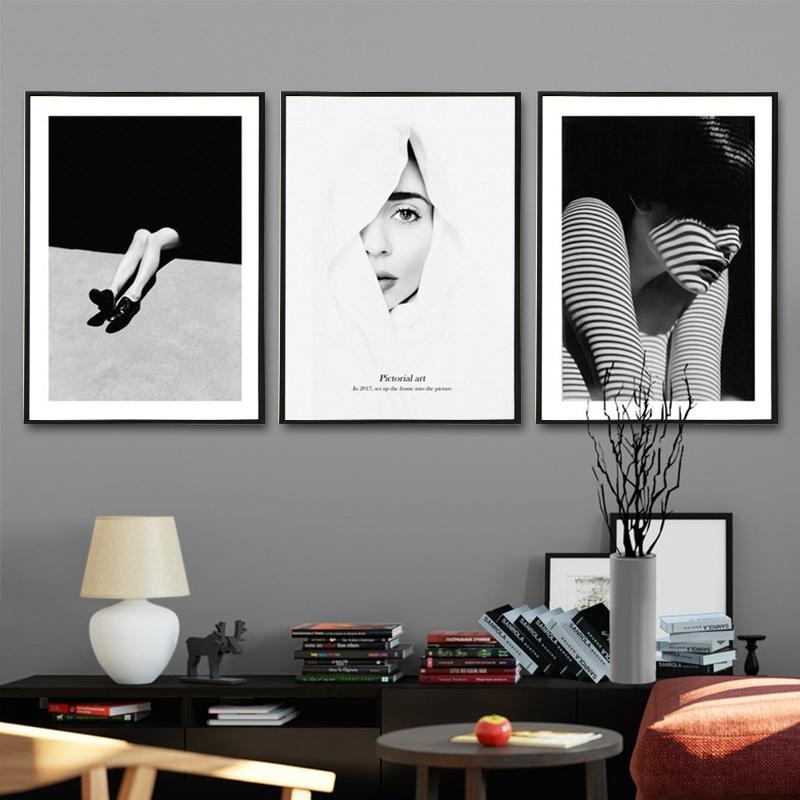 黑白人像摄影装饰画艺术现代简约客厅卧室挂画餐厅玄关组合壁画。