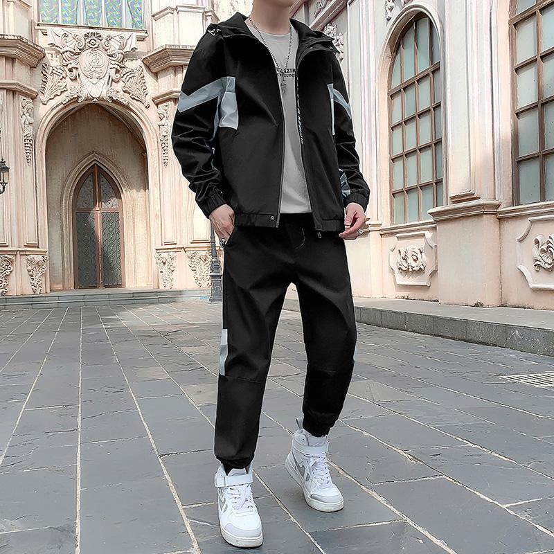 休闲运动套装男2021秋季新款男装连帽夹克男士运动长裤韩版两件套
