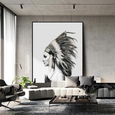 现代风格玄关走廊过道黑白人物油画