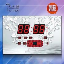 时钟温度湿度多功能万年历电子钟不插电客厅万历年静音挂小众潮∈