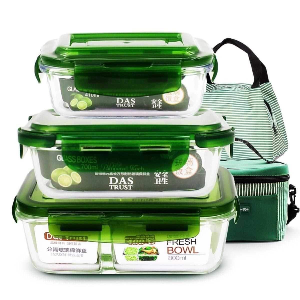易清洗长方形透明保鲜盒耐高温饭盒微波炉专用玻璃器皿带盖大容量