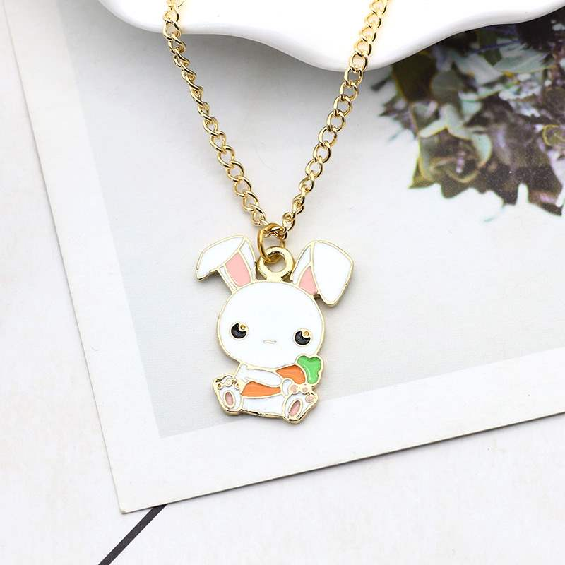 Japanese cute cartoon animal style girl childrens necklace little white rabbit carrot Pendant with clavicle chain