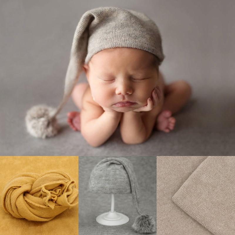婴儿宝宝拍照毛球帽子+裹布道具新生儿摄影辅助包纱布孩子满月照