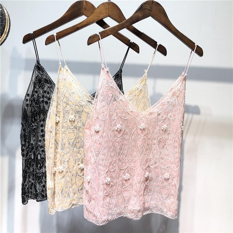 Minority summer women handmade pearl thin suspender Sequin slim figure lace short V-neck Vest Top Women