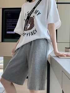 薄款五分灰色运动宽松高腰显瘦中裤