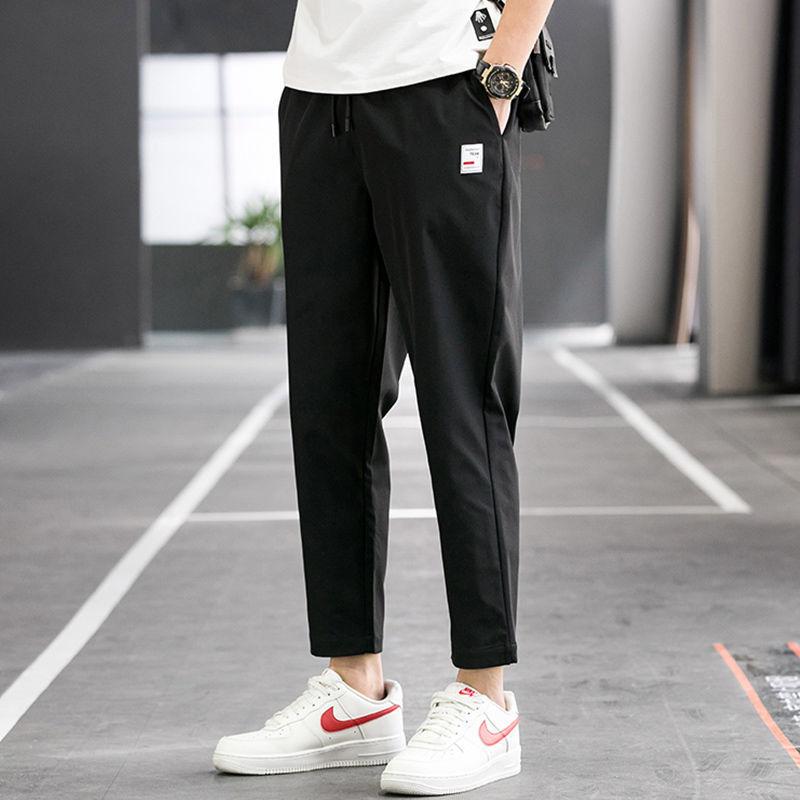 休闲裤男士夏季薄款冰丝裤宽松长裤韩版潮流运动速干直筒九分裤子