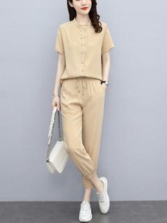 时尚套装女2021夏装新款女装韩版短袖上衣长裤休闲两件套套装裤女