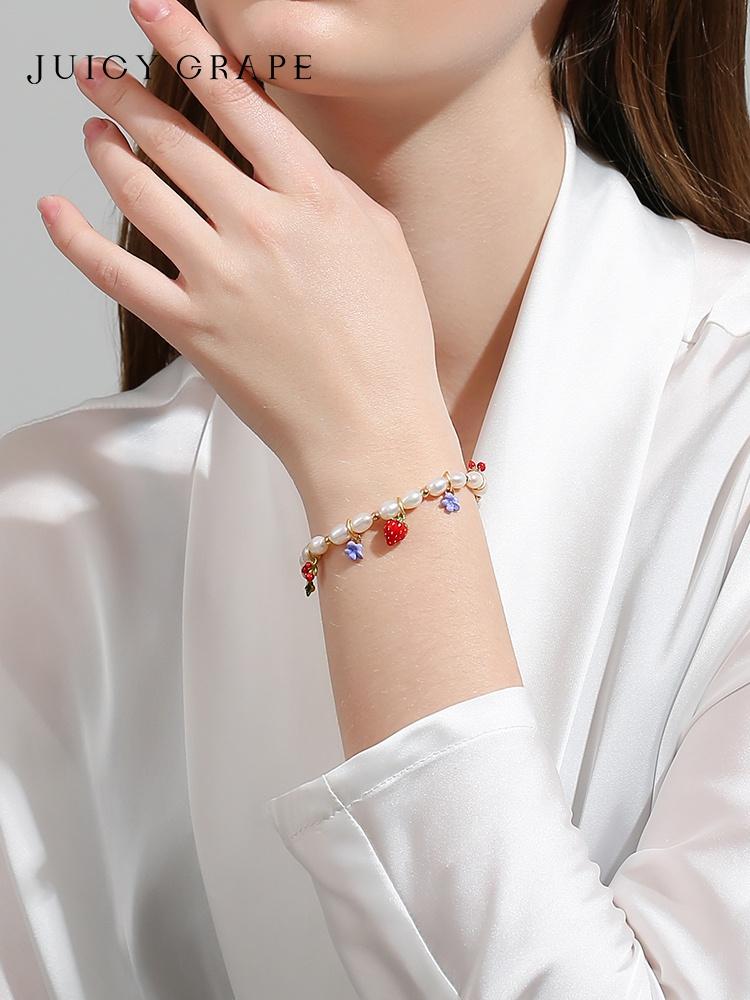 Freshwater pearl bracelet female simple temperament strawberry watermelon cherry Bracelet small friends 520 gifts to girlfriend