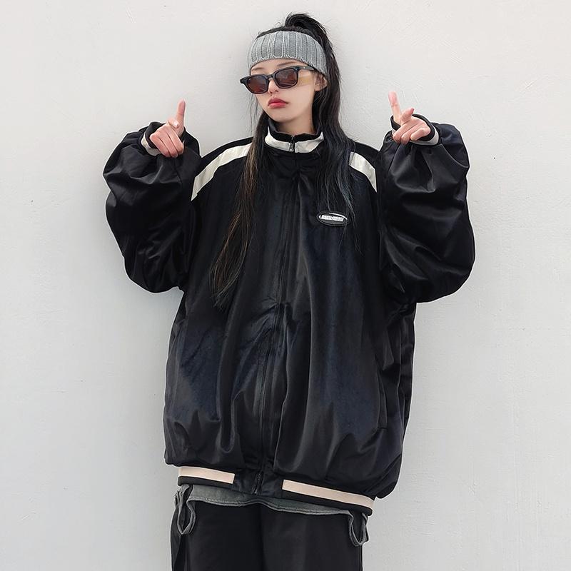 Guochao Kaifu brand shirt sports stand high collar mens and womens loose jacket jacket baseball hip hop jacket ins Street Street