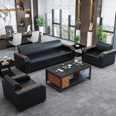办公沙发现代简约办公室会客接待室商务新中式三人位沙发茶几组。