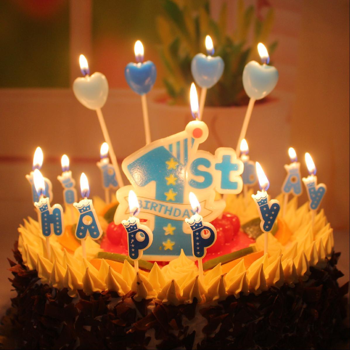 生日蛋糕浪漫蜡烛创意石蜡蜡烛周岁宝宝1装饰儿童店新款