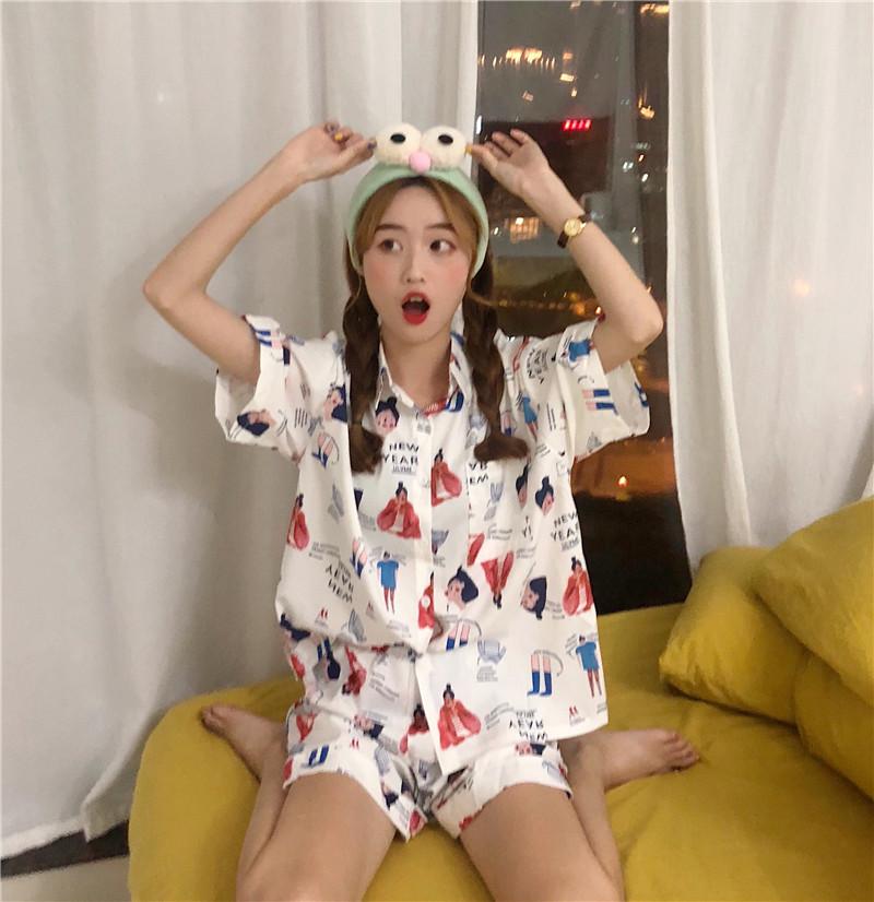 控5实拍实价韩版宽松休闲创意卡通印花家居服睡衣套装可外穿