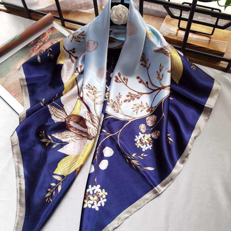 丝绸丝巾女韩版时尚洋气90cm大方巾围巾纱巾披肩百搭头巾