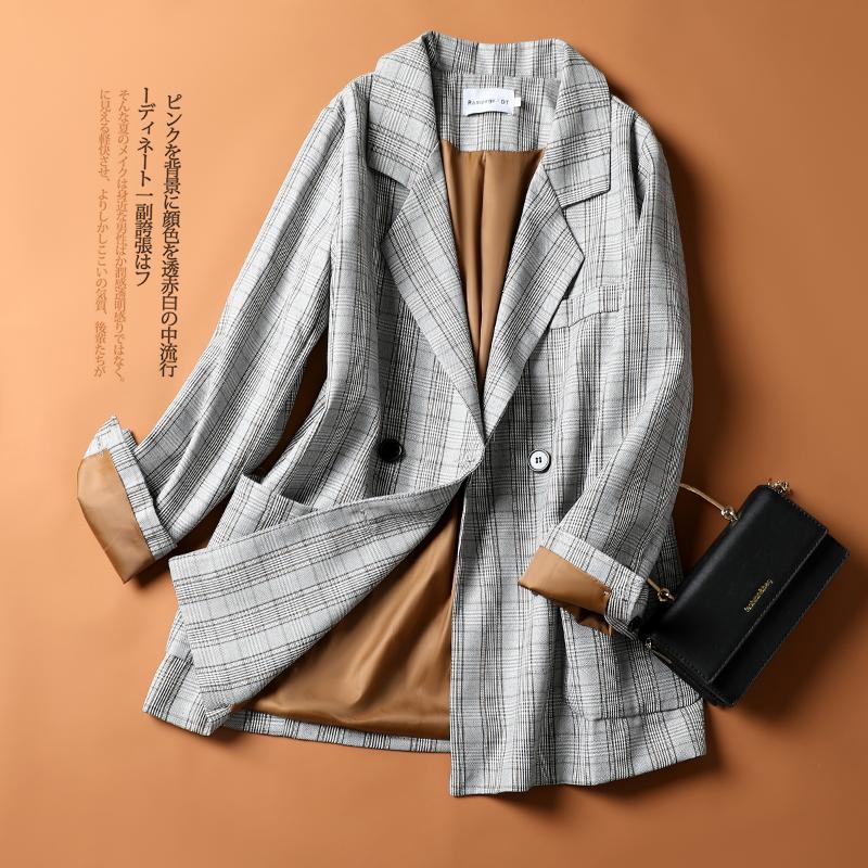 复古西装外套女韩版2021春秋款中长款时尚双排扣休闲格纹西服上衣