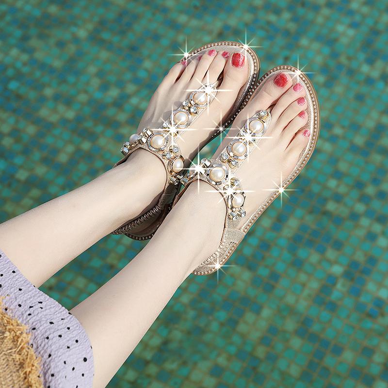 . Sandals womens summer 2021 new Bohemian Beaded diamond clip toe holiday beach sandals
