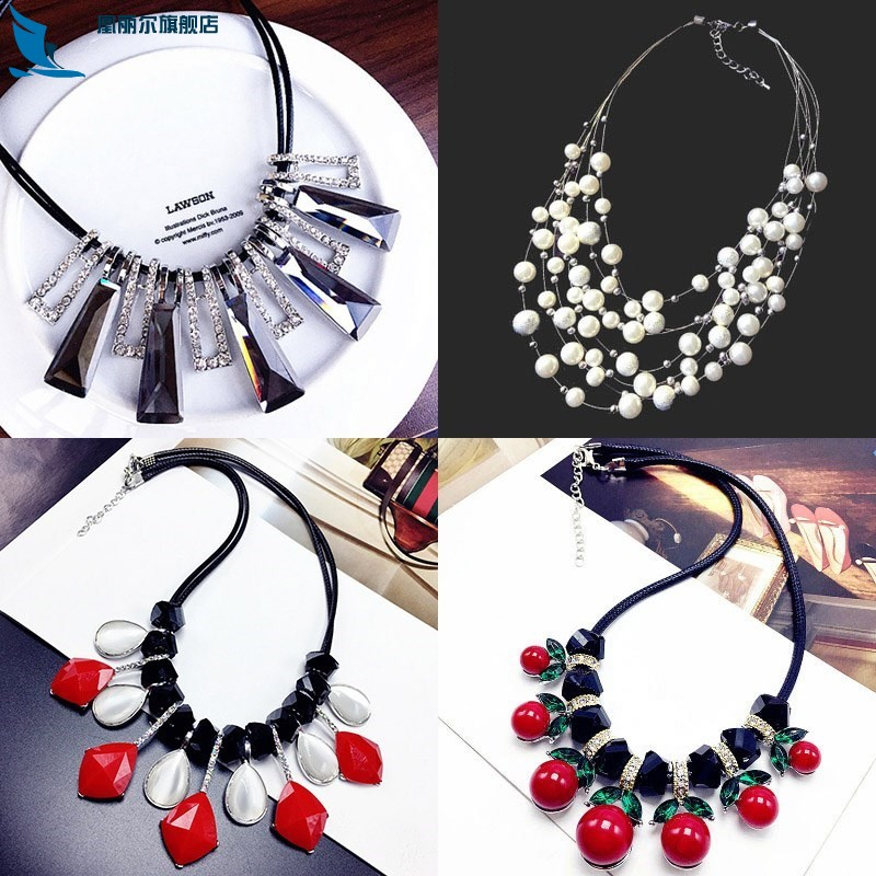 2018 shirt girl crystal necklace with clavicle accessories blue simple new neckline with high-end short rope