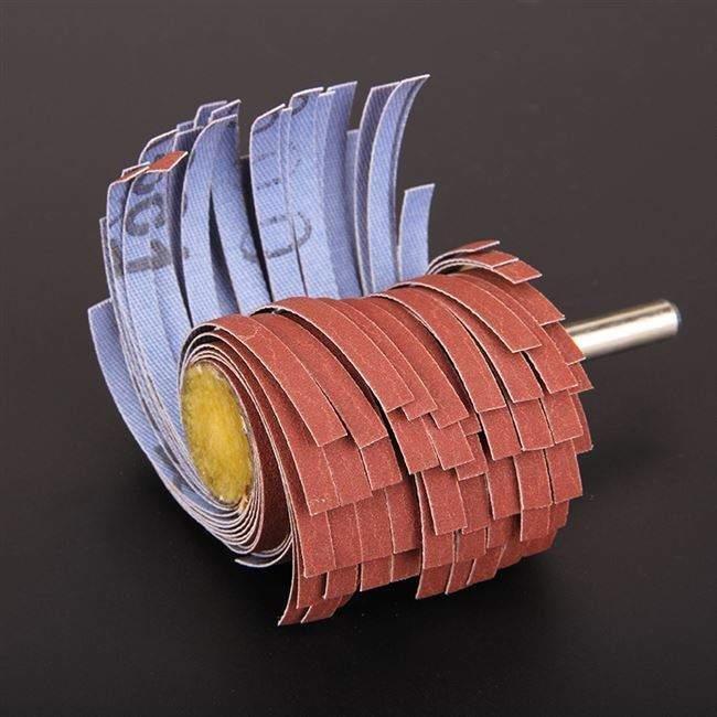1棒型木工砂纸圆柱带柄抛光叶轮打磨金属内片砂轮研磨木头沙孔头