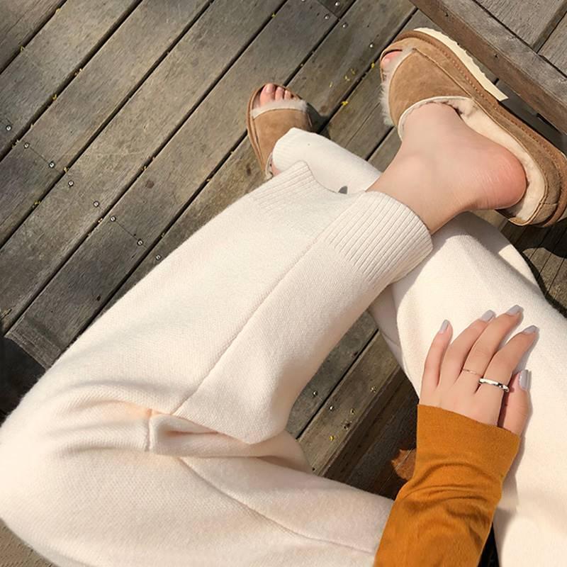 奶奶裤女秋冬简约宽松加厚阔腿高腰休闲长裤显瘦羊毛针织裤直筒裤