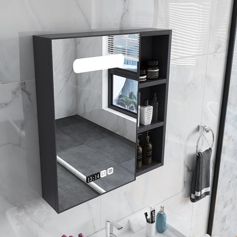 轻奢智能浴室镜柜挂墙式卫生间带灯单独镜箱带置物架厕所镜子吊柜