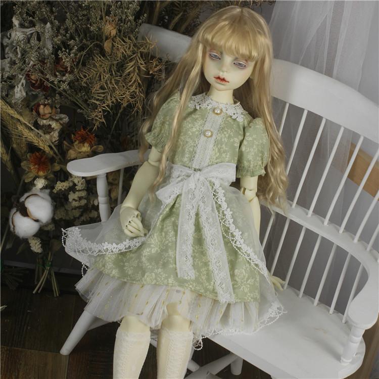 bjd娃娃1/3分奶青色碎花少女拖尾连衣裙SD13女娃欧风洋装套装娃衣