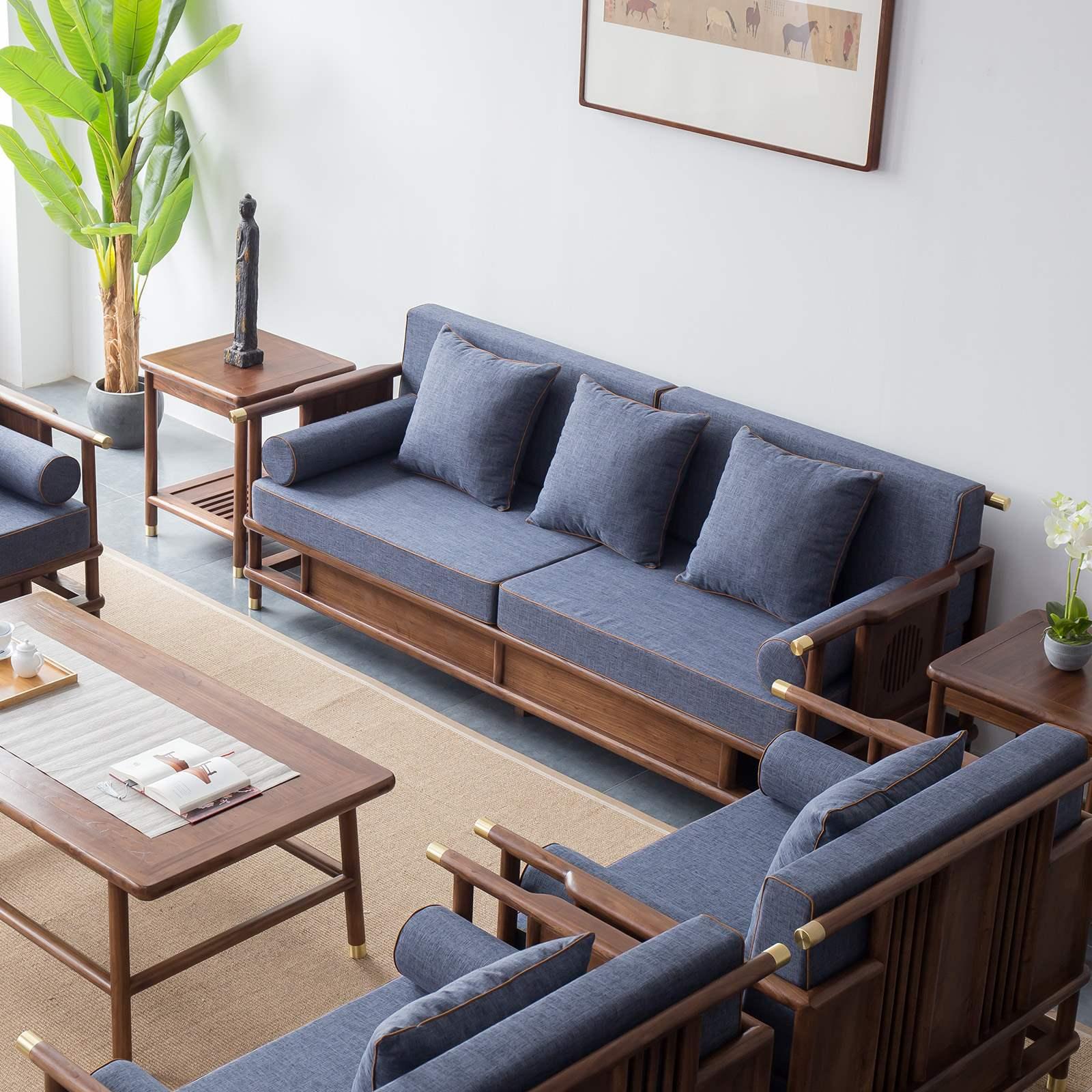 新中式沙发黑胡桃实木中国风家具现代中式禅意别墅客厅沙发组合