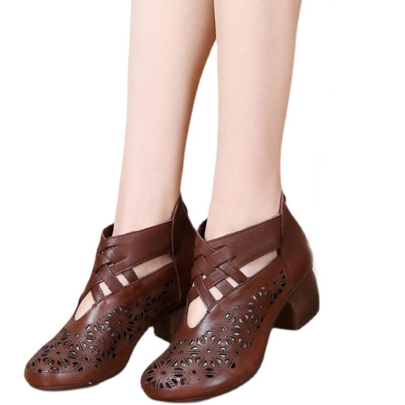 特色复古民族风镂空凉鞋洞洞鞋软皮软底女士中跟妈妈鞋粗跟单鞋子