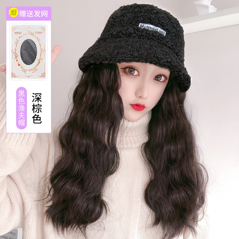Q hat wig one female winter fashion autumn winter long hair net red fisherman with summer wool curly long hair full
