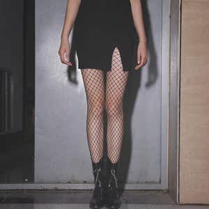 黑丝袜jk黑色连体网红裤情趣ins潮带闪钻性感火辣鱼大网格渔网袜