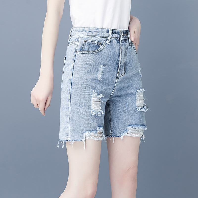 Womens pants 2021 spring and summer new fashion button front zipper worn hole rough edge denim shorts