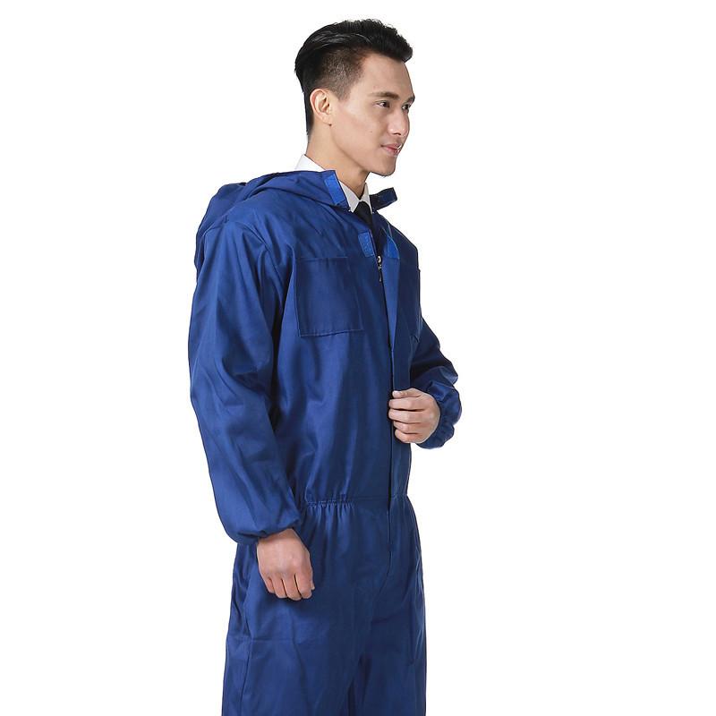 连体防护服薄款透气连帽制服男女汽修喷漆机修防尘劳保服搬运工。