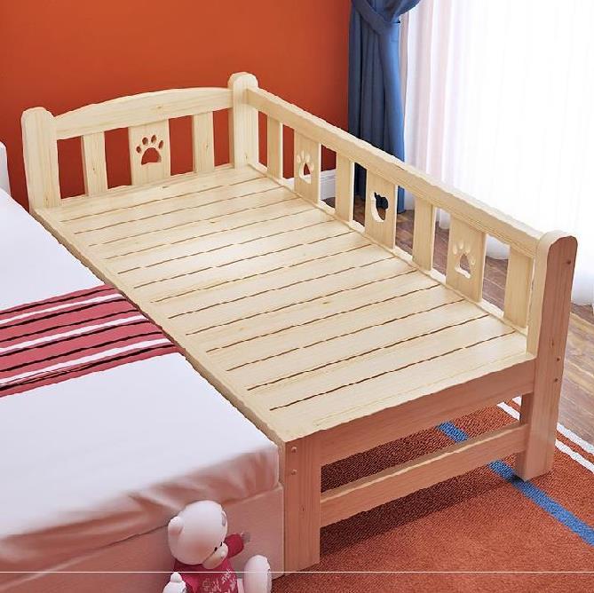 新生儿带抽屉儿童实木床带护栏家具婴儿护栏女童榻榻米小床。