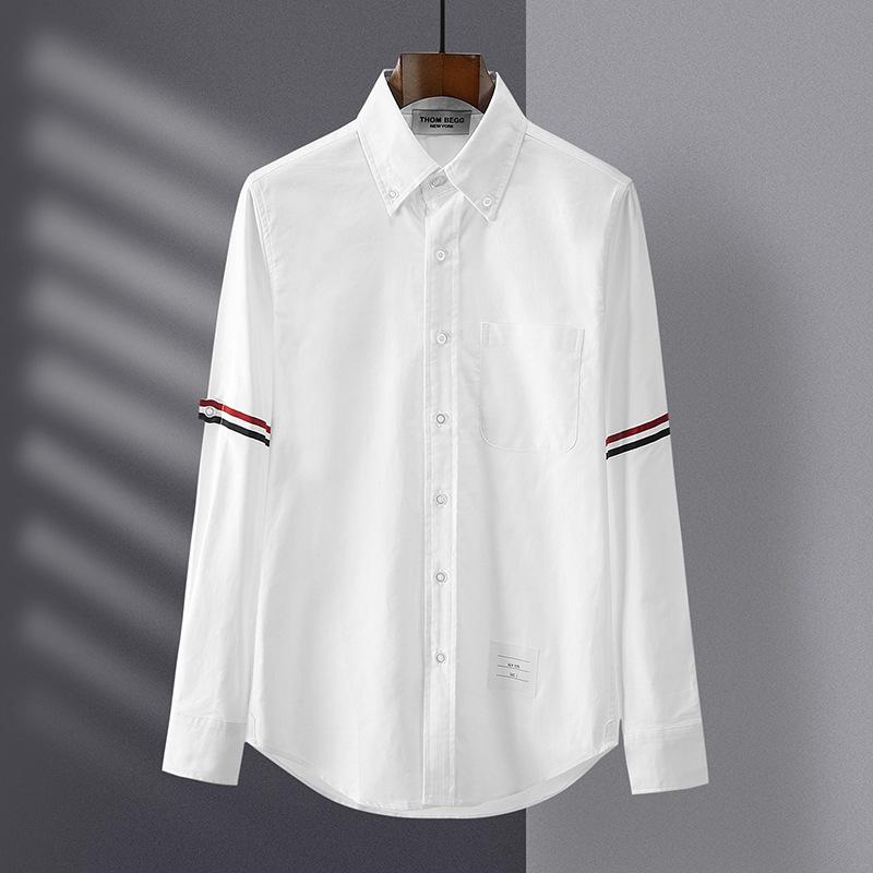 TB汤姆高版本衬衫双袖织带牛津纺长袖衬衣青年休闲男女潮牌布朗