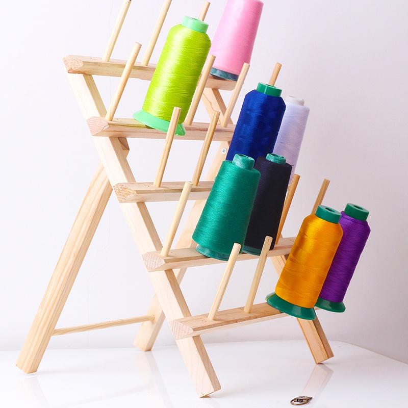 缝纫线折叠23轴实木架子DIY手工配件可壁挂工具线架桌面收纳物架