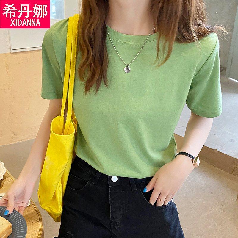新疆棉韩版夏季纯色t恤女打底衫上衣宽松潮流圆领白色大码短袖h