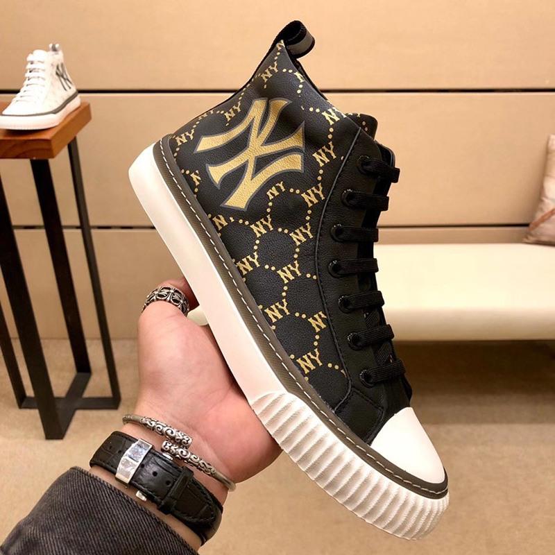 . European station high top leather trend mens shoes 2021 new printing mens fashion casual shoes NY fashionable shoes