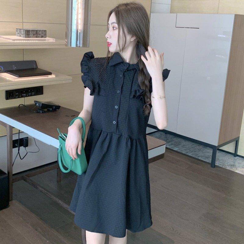 2021夏装新款别致设计感小众荷叶边短袖连衣裙女法式初恋甜美裙子