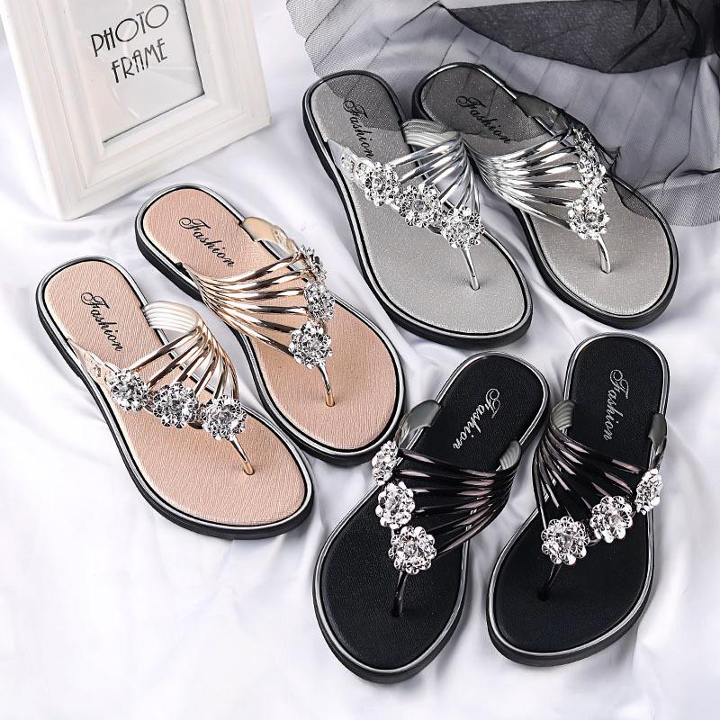FbzK2021女士拖鞋夏季凉拖新款平底夹趾女鞋轻便拖鞋女外穿人字拖