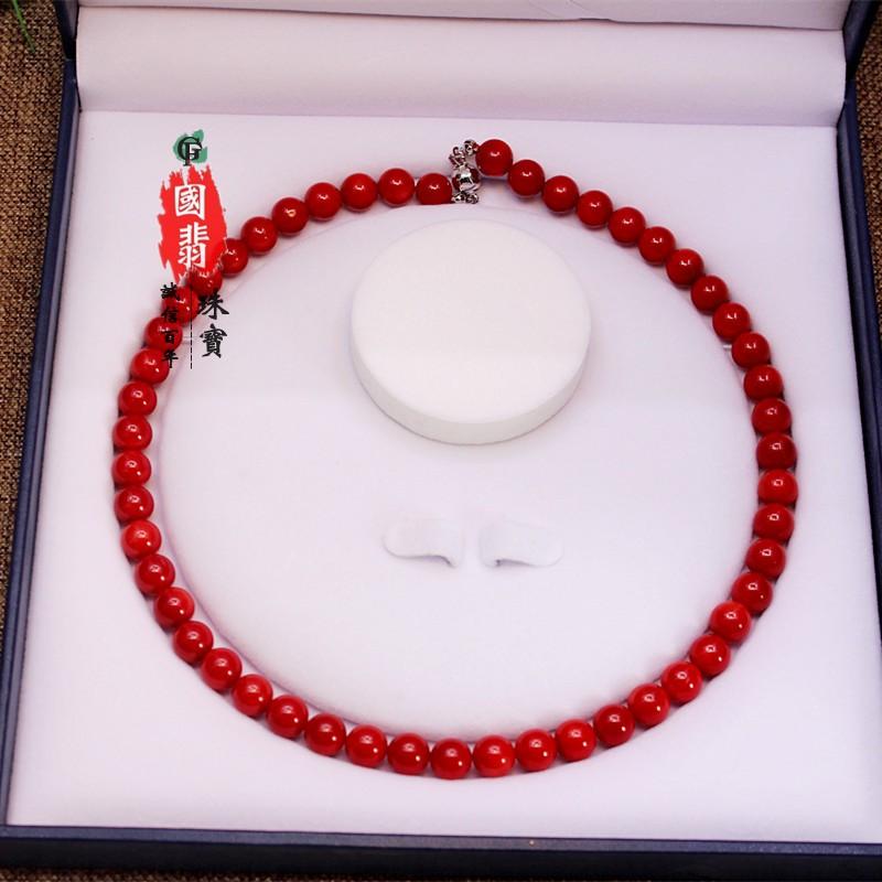 高档中老年珊瑚颈项链毛衣链本命年生日母亲节送老婆妈妈礼物首饰
