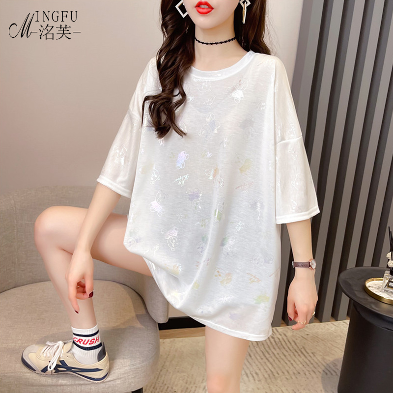 White short sleeve T-shirt womens 2021 new fashion summer loose large medium and long net red ins super fire top