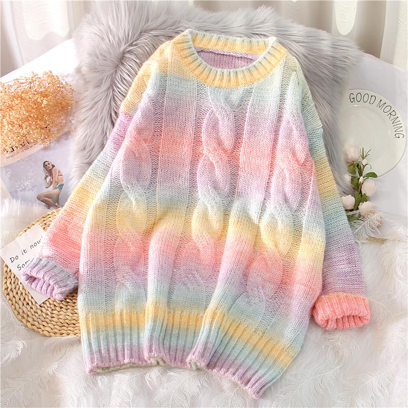 彩虹条纹毛衣女春天加厚麻花宽松套头2021年新款慵懒风针织衫外穿