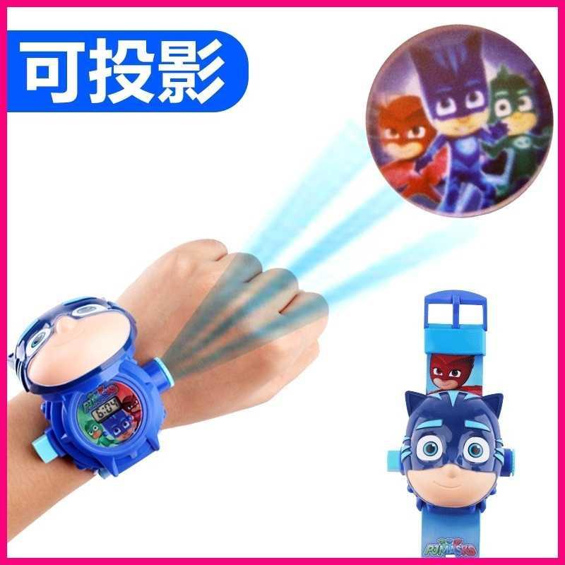 儿童睡衣小英雄玩具猫小子可投影动漫卡通电子手表玩偶男孩子礼物