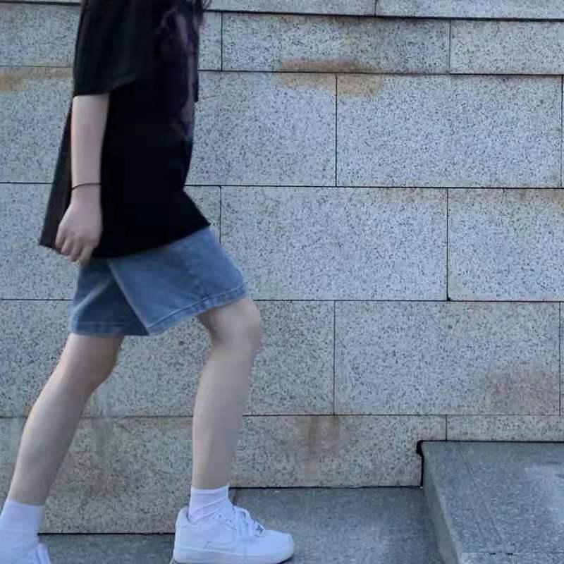 中國代購|中國批發-ibuy99|牛仔裤女|牛仔短裤女夏季2021年新款韩版ins高腰显瘦阔腿裤宽松五分裤子潮