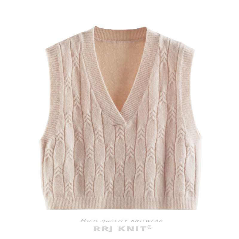 New coarse wool wheat spike pattern high waist short knitted vest womens autumn and winter new loose sweater shoulder