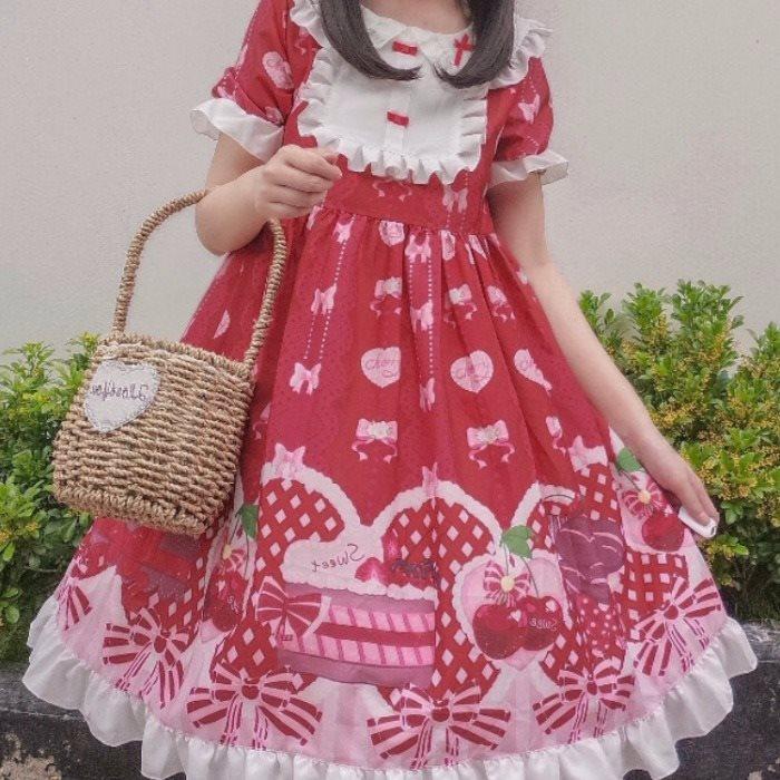 韩菇凉~现货原创设计甜蜜下午茶Lolita洛丽塔洋装op短袖连衣裙女