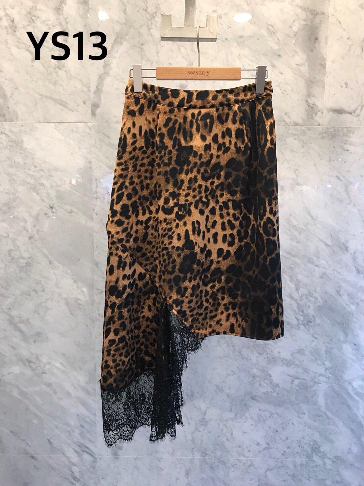 JS NEW YORK 系列 韩国女装 秋 不规则蕾丝边时尚豹纹半身裙917