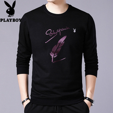 Playboy long-sleeved t-shirt men and velvet round neck sweater long-sleeved shirt young men's bottoming shirt men's shirt