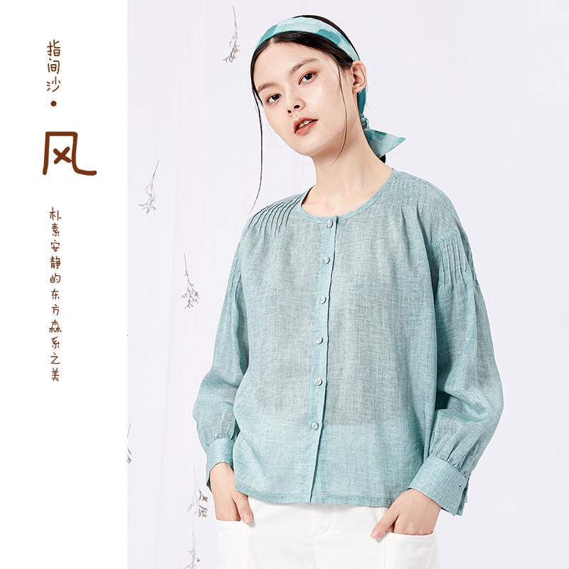 指间沙风原创女装新款设计感小众长袖褶皱薄款纯色棉麻衬衫女上衣